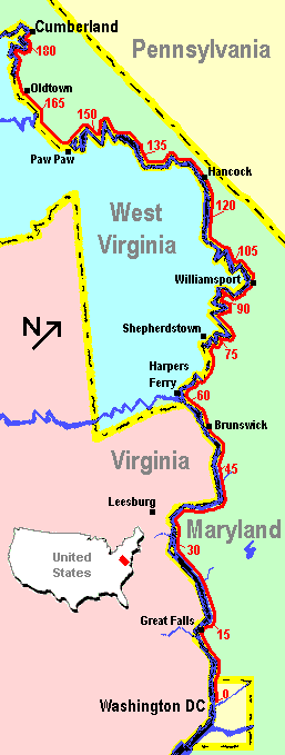 Chesapeake & Ohio Canal trail Map